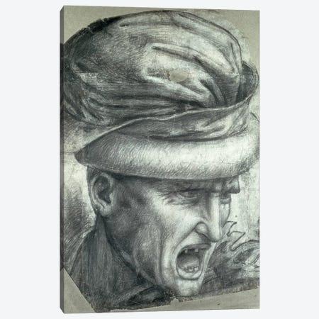 Head of a Warrior, copy of a detail from 'The Battle of Anghiari'  Canvas Print #BMN2116} by Leonardo da Vinci Art Print