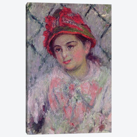 Portrait of Blanche Hoschede  Canvas Print #BMN2124} by Claude Monet Canvas Artwork