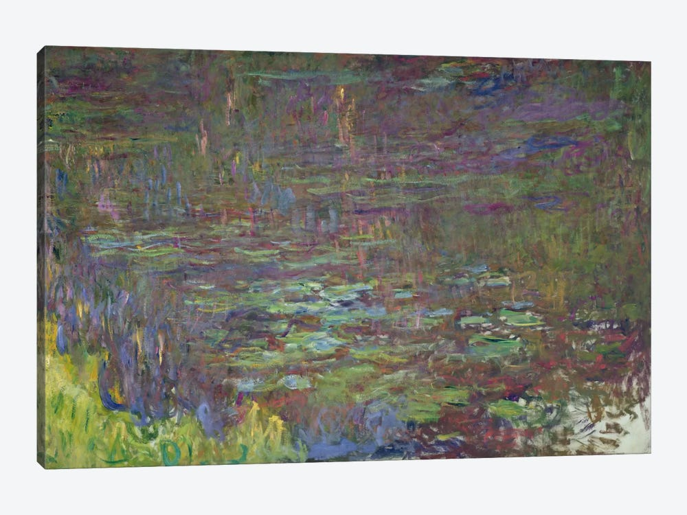 Waterlilies at Sunset, detail from the right hand side, 1915-26  by Claude Monet 1-piece Canvas Art Print