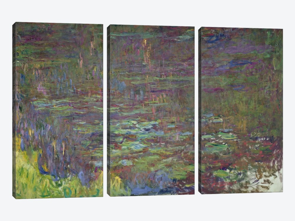 Waterlilies at Sunset, detail from the right hand side, 1915-26  by Claude Monet 3-piece Art Print