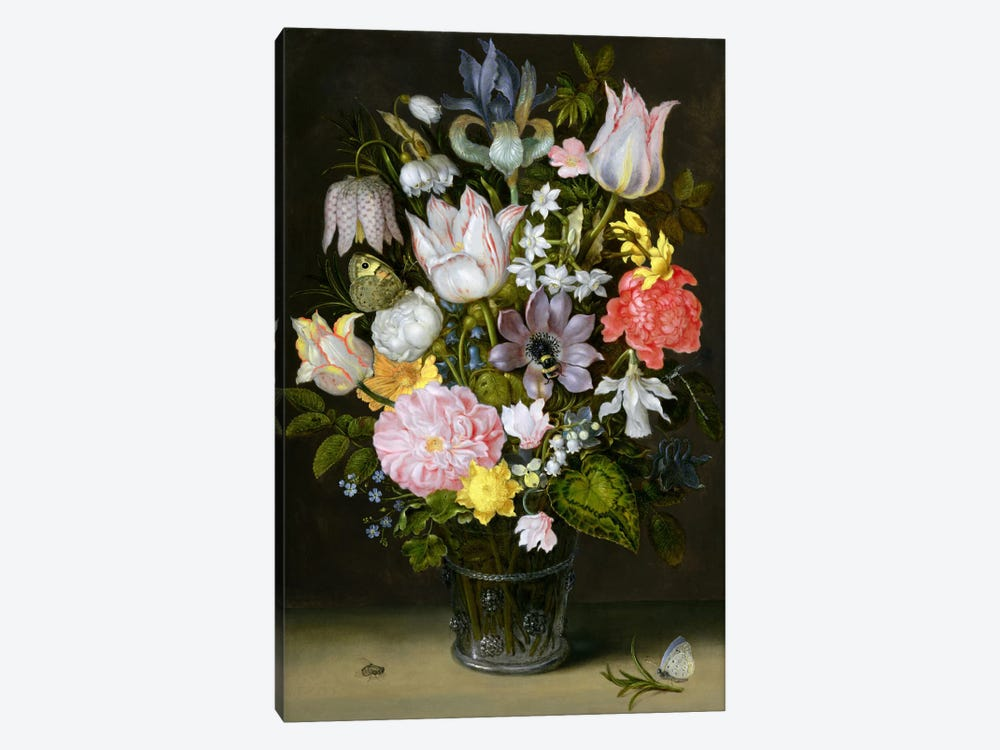 Still Life with Flowers  by Ambrosius the Elder Bosschaert 1-piece Canvas Art