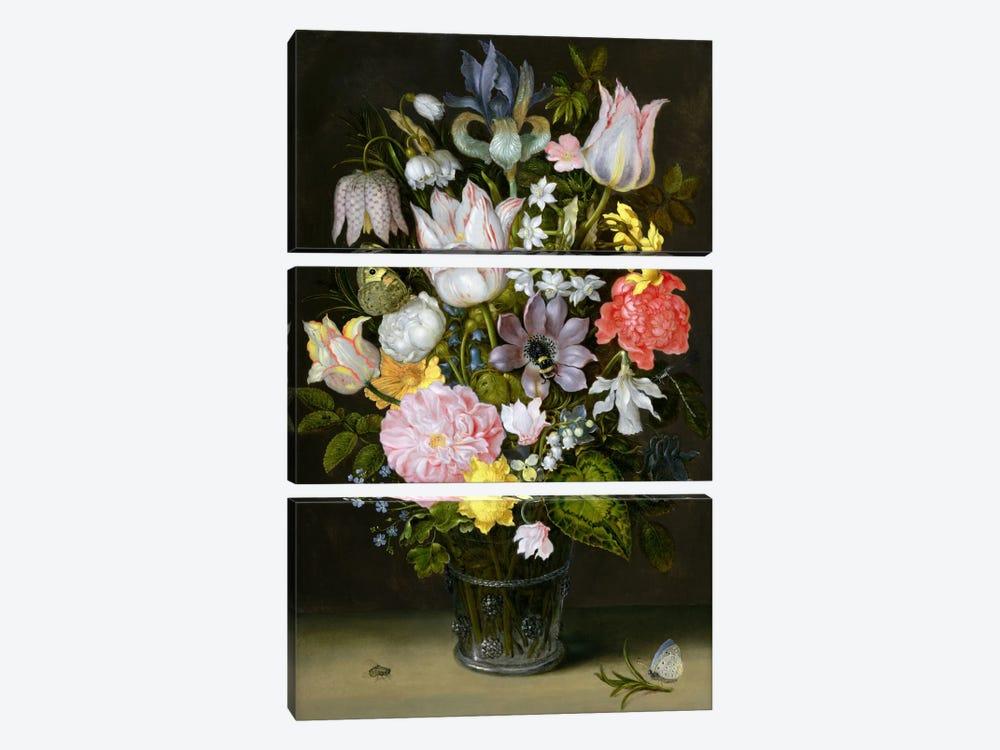 Still Life with Flowers  by Ambrosius the Elder Bosschaert 3-piece Canvas Artwork