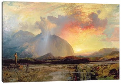 Sunset Vespers at the Old Rugged Cross  Canvas Art Print