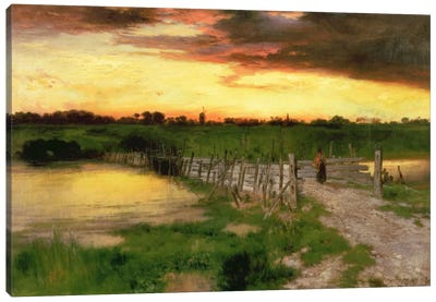 The Old Bridge Over Hook Pond, 1907 Canvas Art Print