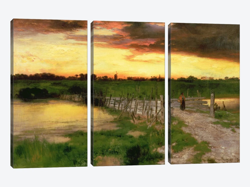 The Old Bridge Over Hook Pond, 1907  by Thomas Moran 3-piece Art Print