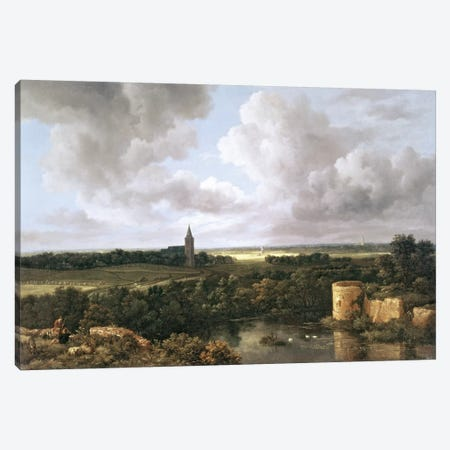 Landscape with Ruined Castle and Church, c.1665-70  Canvas Print #BMN213} by Jacob Isaacksz van Ruisdael Canvas Print