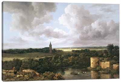 Landscape with Ruined Castle and Church, c.1665-70  Canvas Art Print