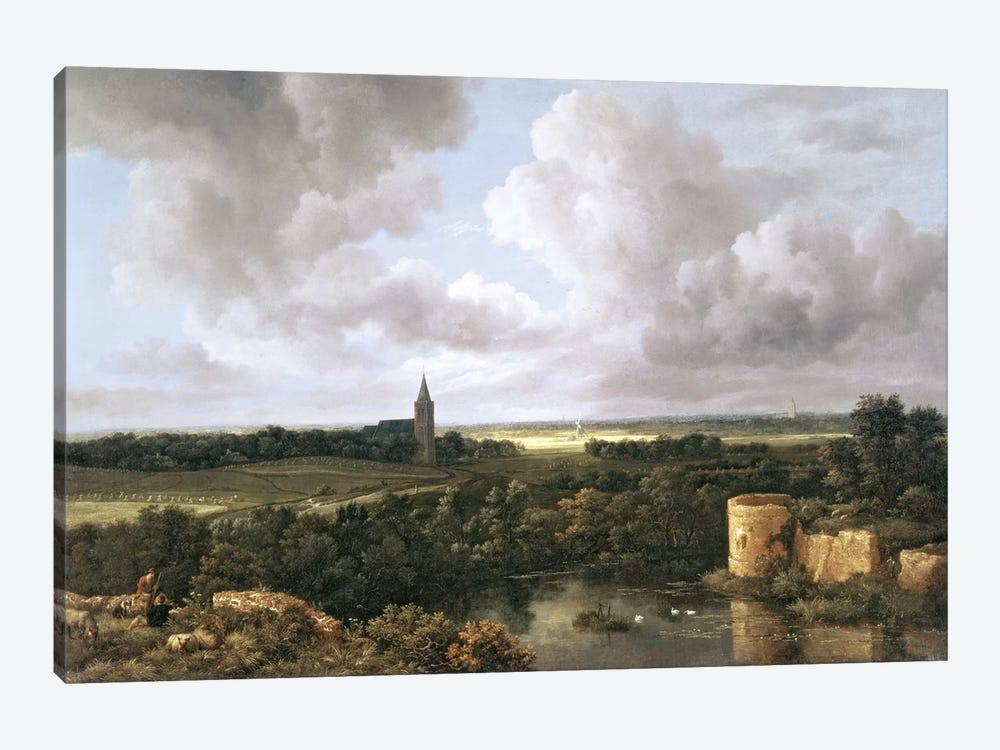 Landscape with Ruined Castle and Church, c.1665-70  by Jacob Isaacksz van Ruisdael 1-piece Canvas Art