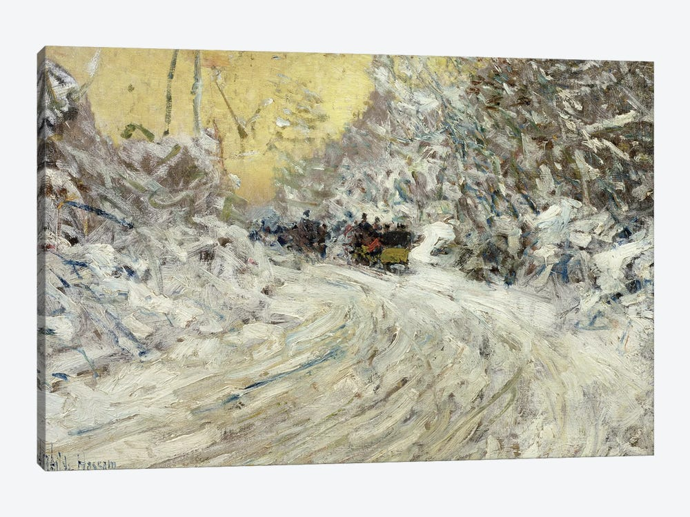 Sleigh Ride in Central Park  by Childe Hassam 1-piece Canvas Artwork