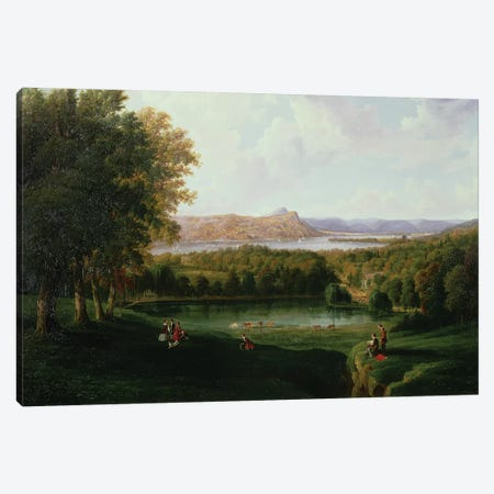 View from the Tarrytown of the Hudson River Old Dutch Church and Beckham Manor, 1866  Canvas Print #BMN2141} by Robert the Younger Havell Canvas Print