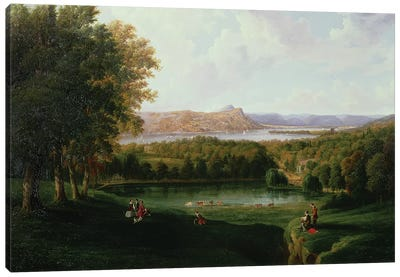 View from the Tarrytown of the Hudson River Old Dutch Church and Beckham Manor, 1866  Canvas Art Print