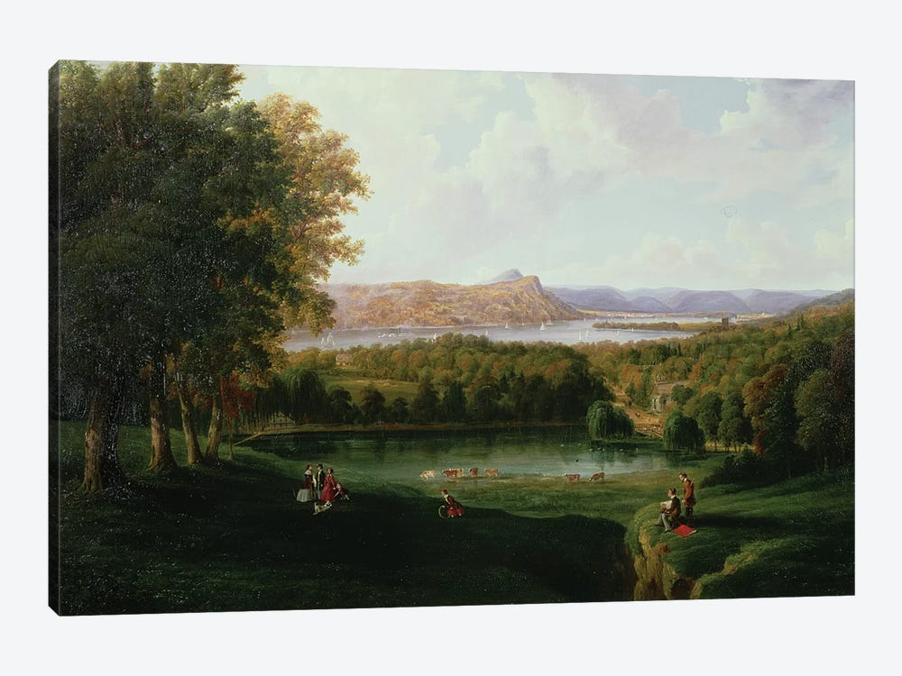 View from the Tarrytown of the Hudson River Old Dutch Church and Beckham Manor, 1866  by Robert the Younger Havell 1-piece Canvas Print