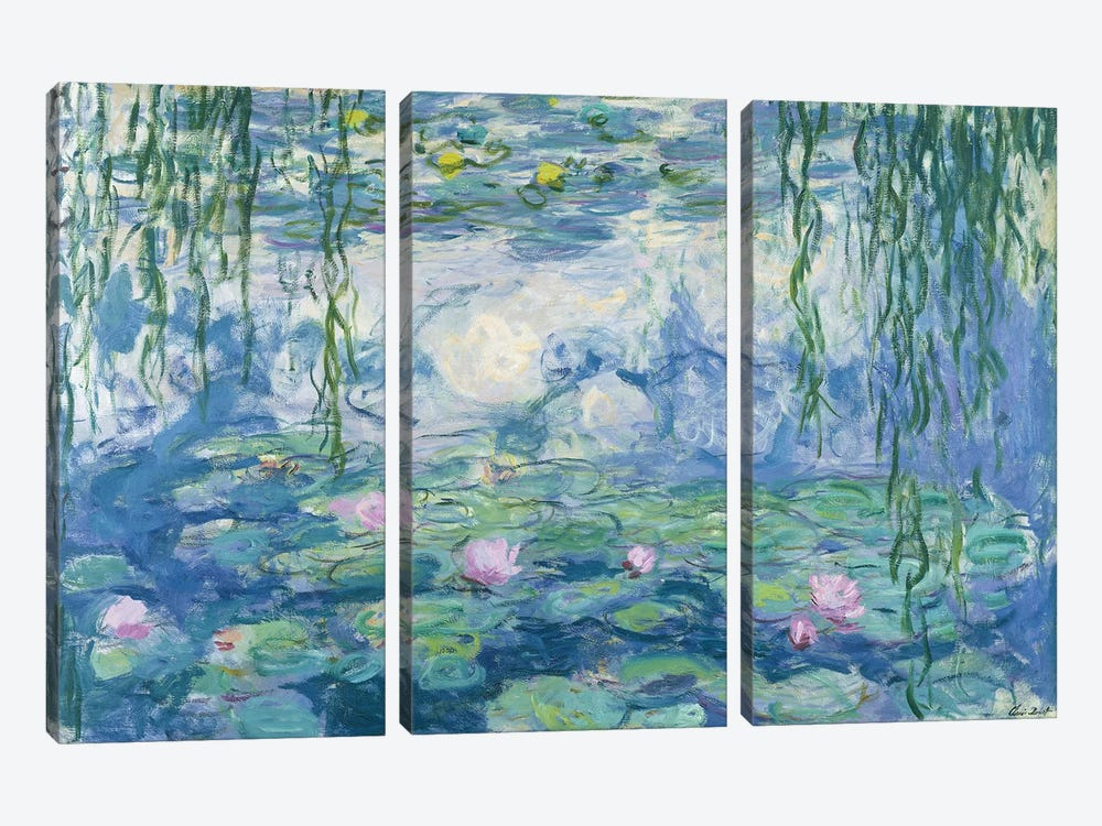 Waterlilies, 1916-19 by Claude Monet 3-piece Canvas Wall Art