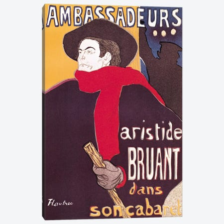 Poster advertising Aristide Bruant  Canvas Print #BMN2147} by Henri de Toulouse-Lautrec Canvas Wall Art