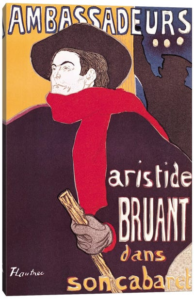 Poster advertising Aristide Bruant by Henri de Toulouse-Lautrec Canvas Wall Art