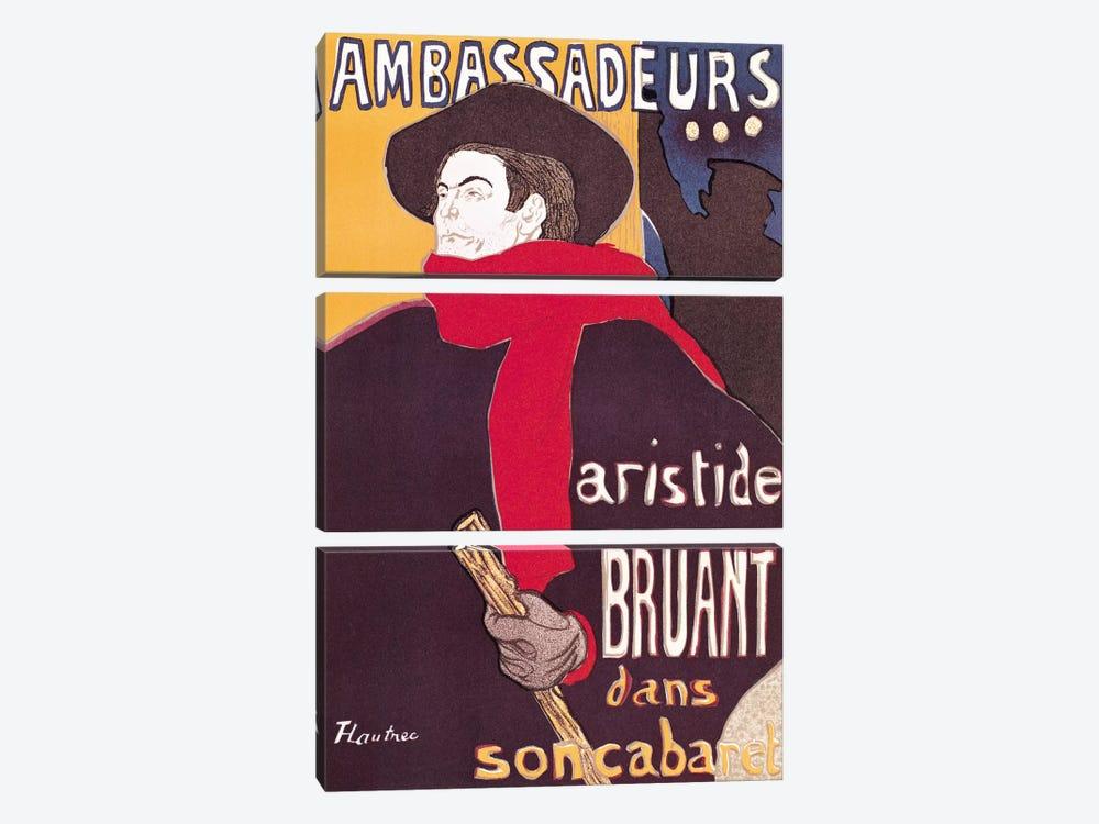 Poster advertising Aristide Bruant  by Henri de Toulouse-Lautrec 3-piece Art Print