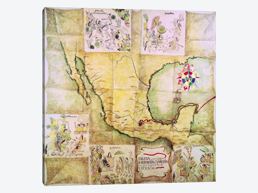 Map of the route followed by Hernando Cortes  by Mexican School 1-piece Canvas Art