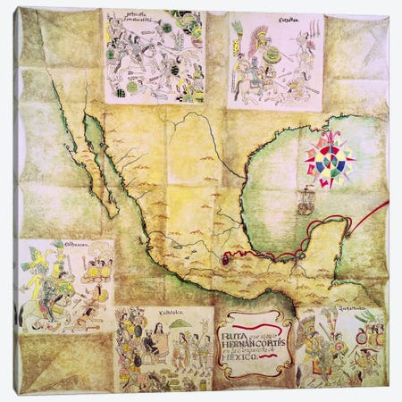Map of the route followed by Hernando Cortes  3-Piece Canvas #BMN2148} by Mexican School Canvas Art Print