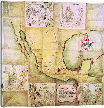 Map of the route followed by Hernando Cortes  Canvas Art Print