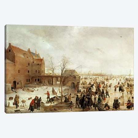 A Scene on the Ice near a Town, c.1615  Canvas Print #BMN214} by Hendrik Avercamp Canvas Wall Art