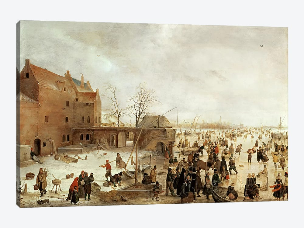 A Scene on the Ice near a Town, c.1615  by Hendrik Avercamp 1-piece Canvas Print