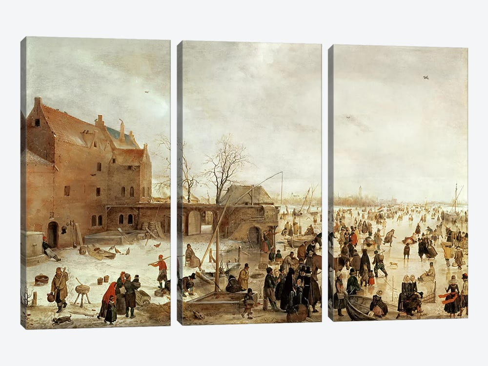 A Scene on the Ice near a Town, c.1615  by Hendrik Avercamp 3-piece Canvas Print