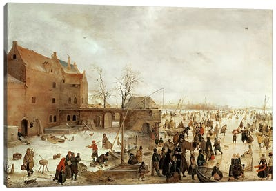 A Scene on the Ice near a Town, c.1615  Canvas Art Print