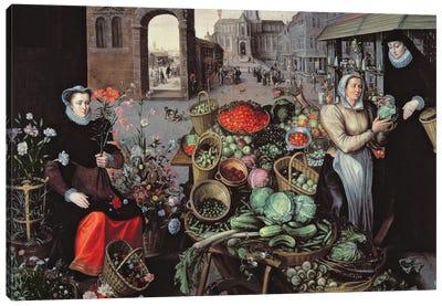 Vegetable and Flower Market  Canvas Art Print