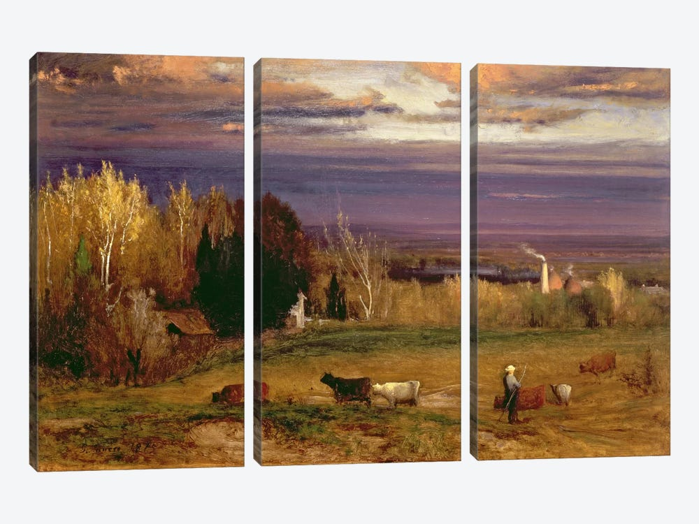 Sunshine After Storm or Sunset, 1875  by George Inness Sr. 3-piece Canvas Print