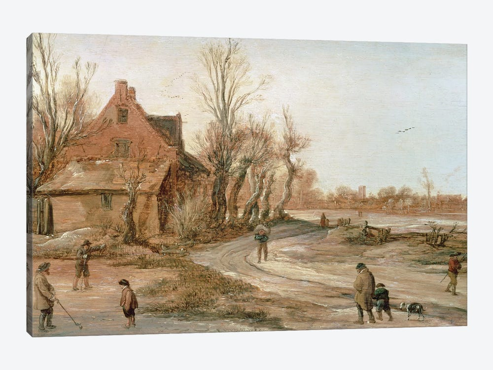 Winter Landscape, 1623  by Esaias I van de Velde 1-piece Canvas Artwork