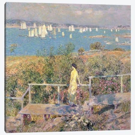 Yachts, Gloucester, 1889  3-Piece Canvas #BMN2163} by Childe Hassam Art Print