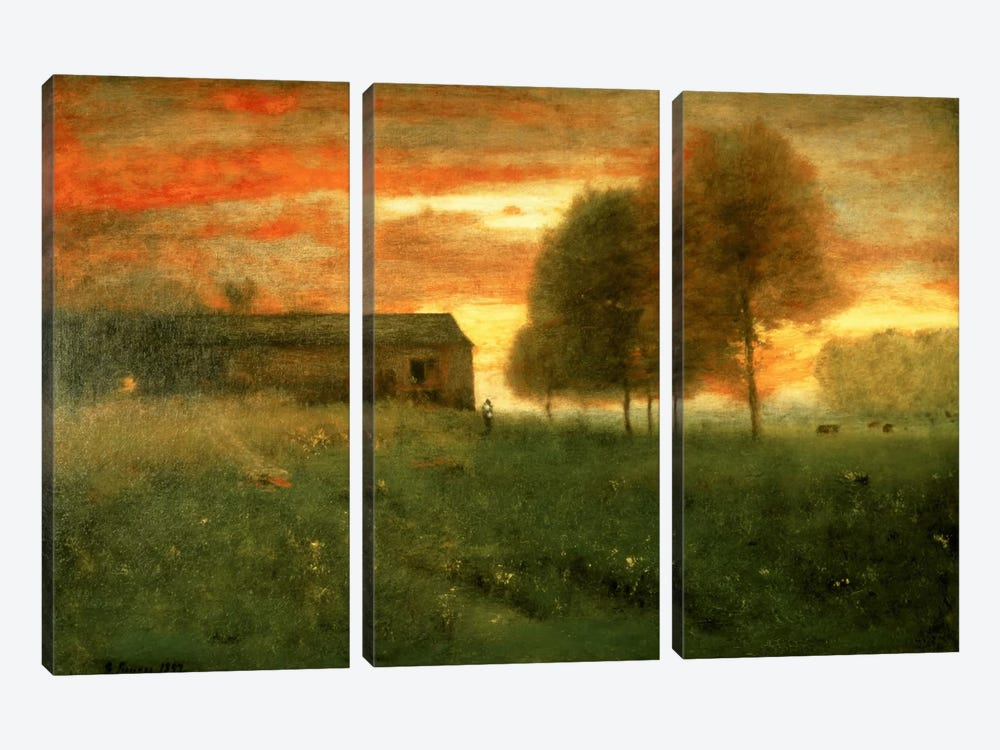Sunset, Montclair, 1892  by George Inness Sr. 3-piece Canvas Wall Art