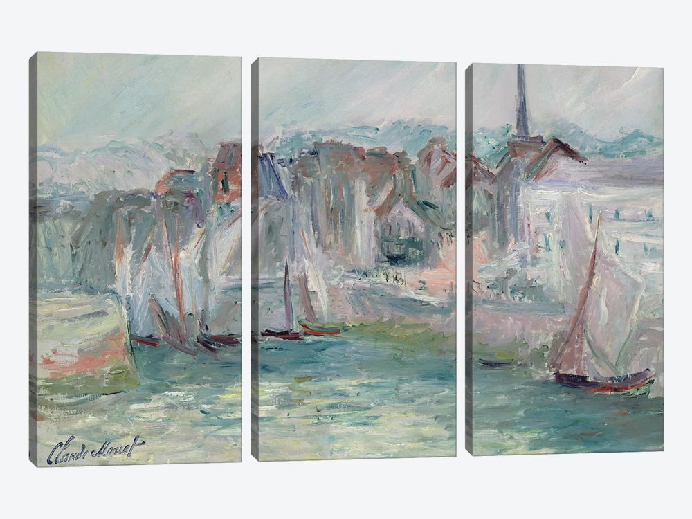 Boats in the Port of Honfleur, 1917  by Claude Monet 3-piece Canvas Art