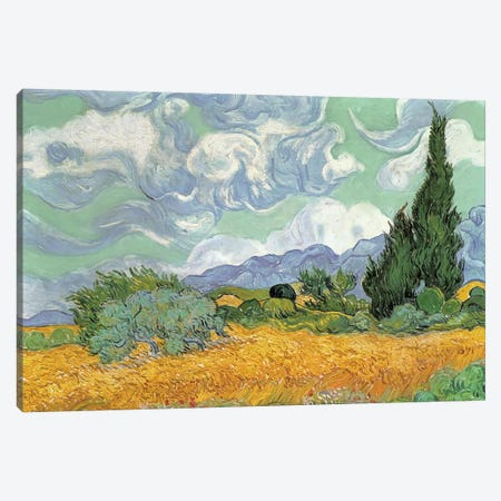 A Wheatfield With Cypresses, September 1889 (National Gallery, London) Canvas Print #BMN216} by Vincent van Gogh Canvas Artwork
