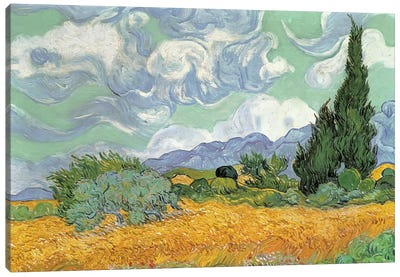 A Wheatfield With Cypresses, September 1889 (National Gallery, London) Canvas Art Print