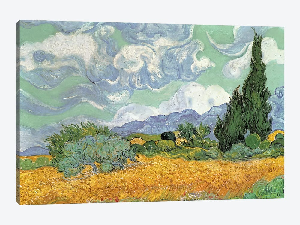 A Wheatfield With Cypresses, September 1889 (National Gallery, London) by Vincent van Gogh 1-piece Canvas Art Print