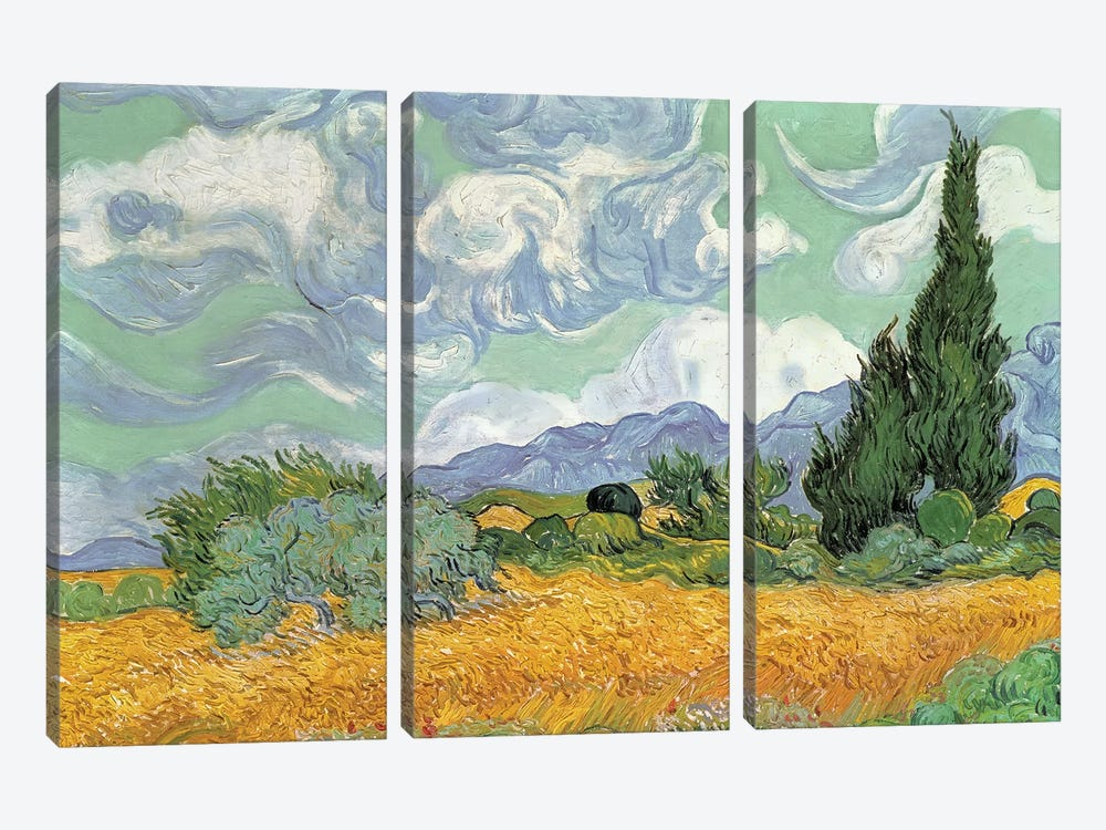 A Wheatfield With Cypresses, September 1889 (National Gallery, London) by Vincent van Gogh 3-piece Art Print
