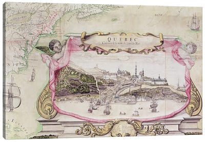 Cartouche of Quebec from 'Carte de l'Amerique Septentrionale', 1688  Canvas Art Print