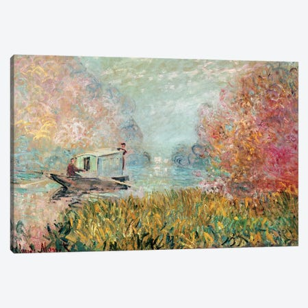 The Boat Studio on the Seine, 1875  Canvas Print #BMN2172} by Claude Monet Canvas Wall Art