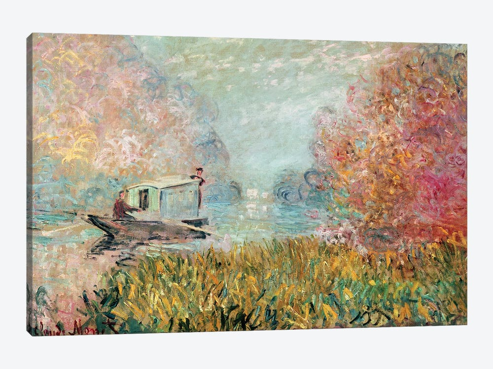 The Boat Studio on the Seine, 1875  by Claude Monet 1-piece Canvas Print