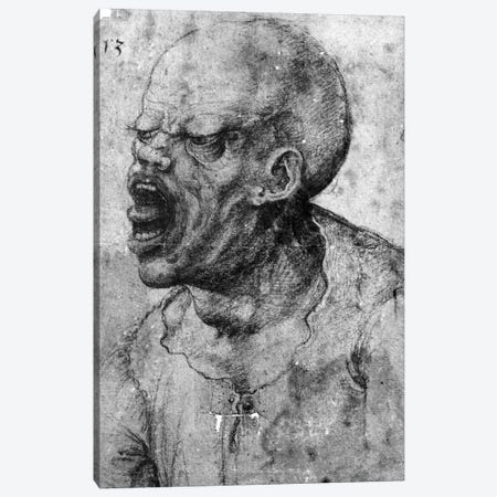 Portrait of a Man Shouting  Canvas Print #BMN2174} by Leonardo da Vinci Canvas Print
