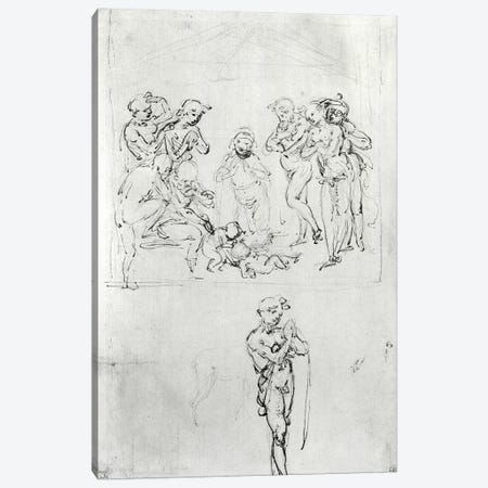 Figural Studies for the Adoration of the Magi, c.1481  Canvas Print #BMN2175} by Leonardo da Vinci Art Print