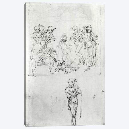 Figural Studies for the Adoration of the Magi, c.1481  Canvas Print #BMN2175} by Leonardo da Vinci Art Print