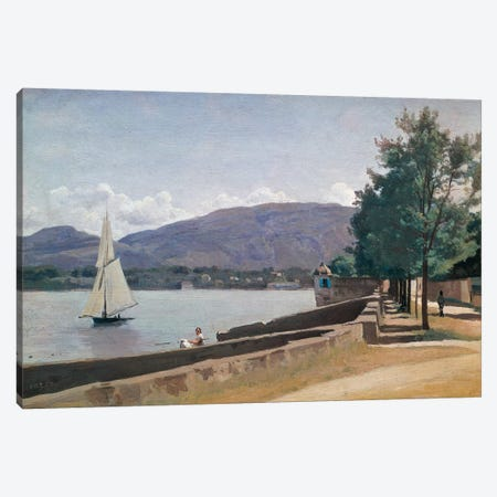 The Quai des Paquis, Geneva, c.1842  Canvas Print #BMN2178} by Jean-Baptiste-Camille Corot Canvas Art