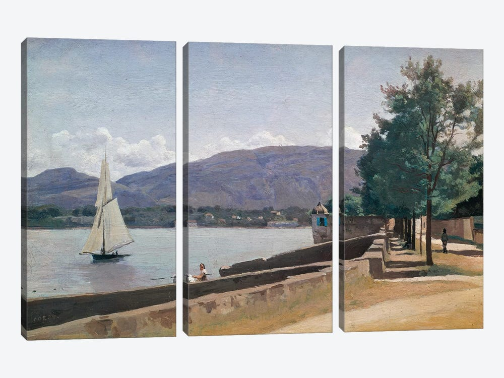 The Quai des Paquis, Geneva, c.1842  3-piece Canvas Print