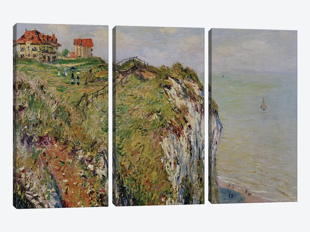 Cliff at Dieppe, 1882  by Claude Monet 3-piece Canvas Art