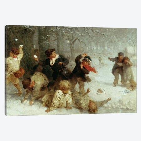 Snowballing, 1865  Canvas Print #BMN217} by John Morgan Canvas Wall Art