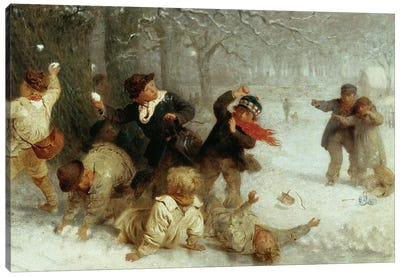 Snowballing, 1865  Canvas Art Print