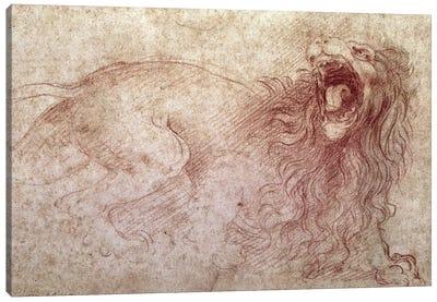 Sketch of a roaring lion  Canvas Art Print