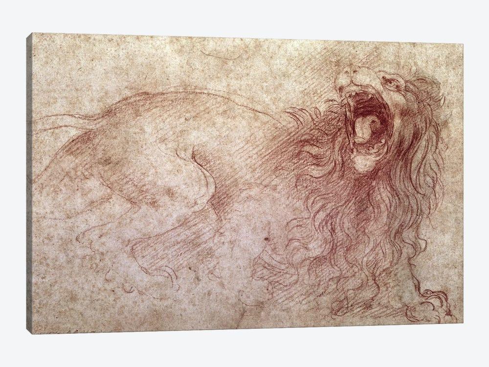 Sketch of a roaring lion  by Leonardo da Vinci 1-piece Canvas Print